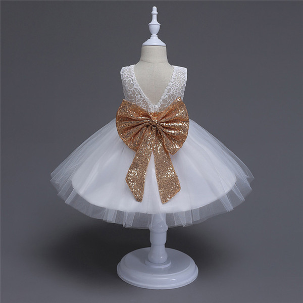 Kids Girls Sequins Dresses Boutique 2017 Summer Baby Girl Big Bow Dress Backless Infant Princess Tutu Dress for Party Children Clothing S881