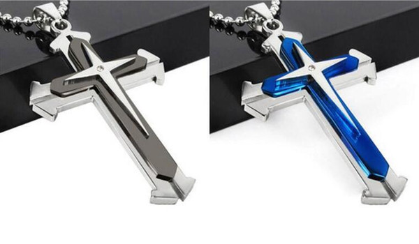 Wholesale mens necklaces Three layers Cross Pendant Sweater chain Round bead chain 168