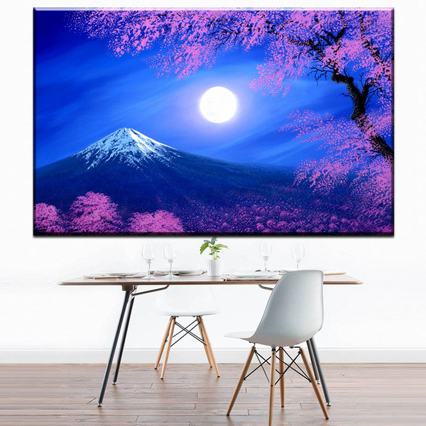 ZZ1694 Cherry blossoms and mount Fuji Japan moon night canvas art wall poster and prints oil art painting for home decoration