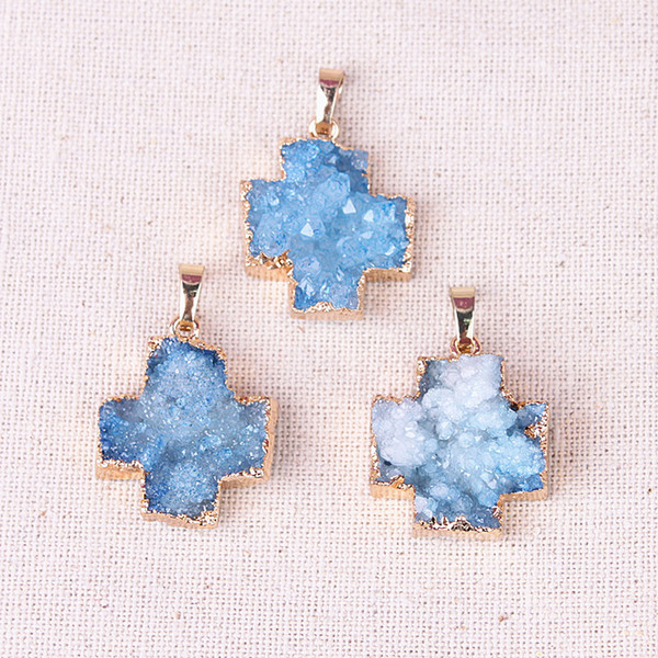 New Jewelry Items Natural Quartz Druzy Pendants Cross Shaped Gold Plated White / Blue / Pink for Women