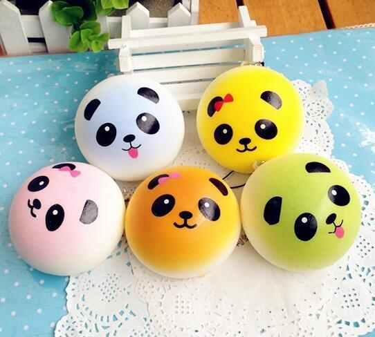 Free Ship 30pcs 7cm Cartoon Colorful Panda Bread Squishy Food Toy Charm Cell Phone Straps Fashion Squishies Bag Pendant Chirstmas Gift