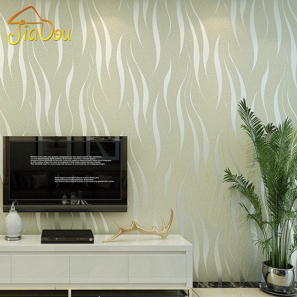 Wholesale- Environmental Pollution Protection Non-woven Wallpaper 3D Wave Stripe Flocking Embossed Removable Mica Wall Paper Mural 0.53*10M