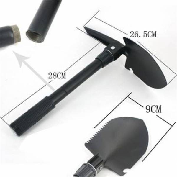 top popular Multi-Purpose Folding Survival Shovel with Carrying Pouch Military survival gear Entrenching Tool with Pick, Saw Compass for Camping Hiking 2020