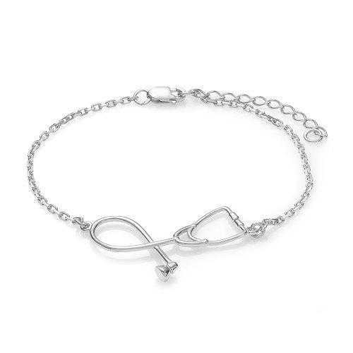 Gros-2016 Stéthoscope Bracelet Mode Médical Bijoux Cadeau pour Infirmière Médecin Étudiant Médical Argent Or Stéthoscope Pendentif