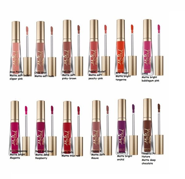 Factory Direct! Newest Cosmetics melted Matte Lipstick Lip Gloss 12colors DHL Free shipping