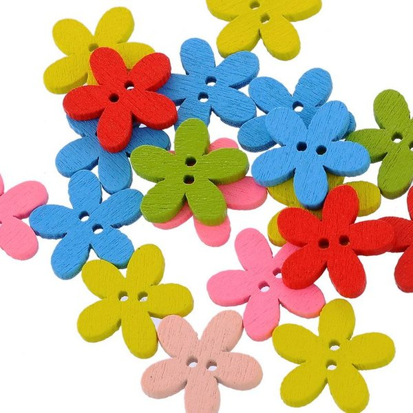 100 Adet YENI Toptan Doğal Ahşap Renkli Karışık Çiçekler Düğmeler Scrapbooking Dikiş Aksesuarları Için DIY Zanaat 2 Delik 14x15mm