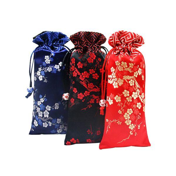 Prolongar as flores de Cereja Patchwork Pouch Pouch Cordão de Seda Colar de Jóias Saco De Embalagem de Presente Saco De Armazenamento De P ...