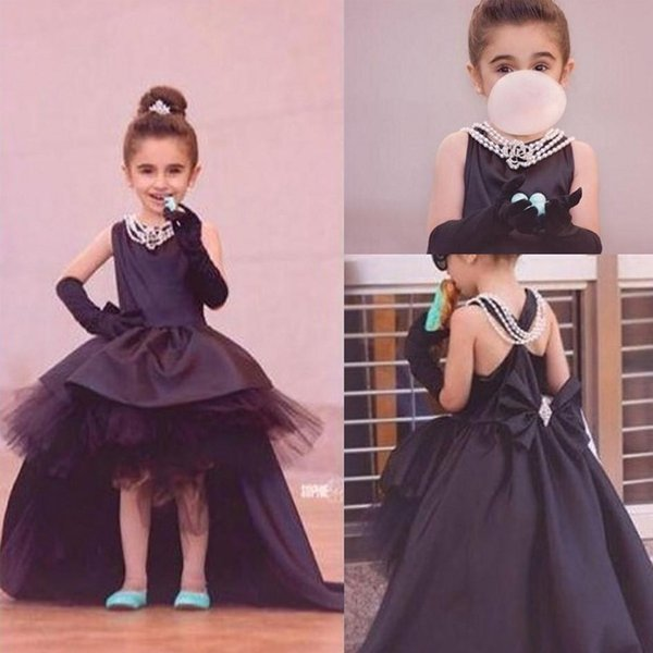 Compre Vestidos Negros Del Concurso Para Niños Pequeños Vestidos De Fiesta Formales Para Niñas Con Un Alto Contenido De Joya Cuello Sin Mangas Frente