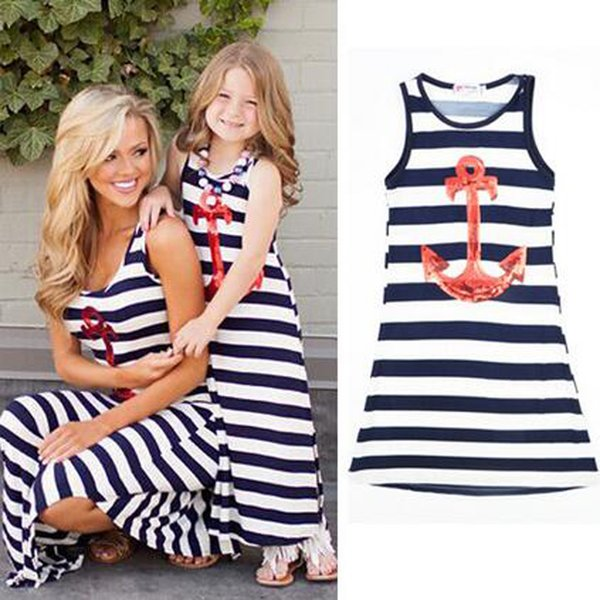 top popular Top Quality Summer New Matching Outfits 2017 New Kids Clothing Stripe Anchor Sleeveless Casual Mother Daughter Dresses Clothes Mommy and Me 2019