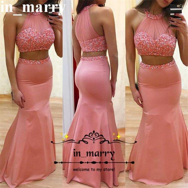 Compre Sexy Dos Pieces Coral Mermaid Prom Dresses 2k17 Halter ...