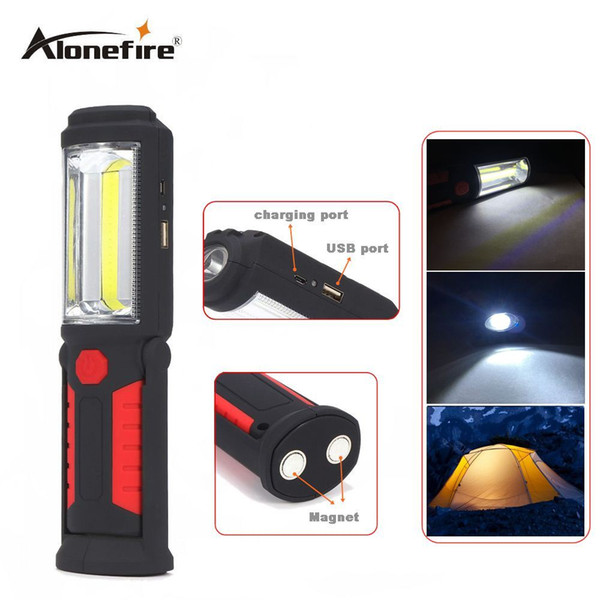 AloneFire C023 Portable Mini COB LED Rechargeable Flashlight Work Light Lamp with Magnet Hanging Hook for Outdoors Camping Sport Light