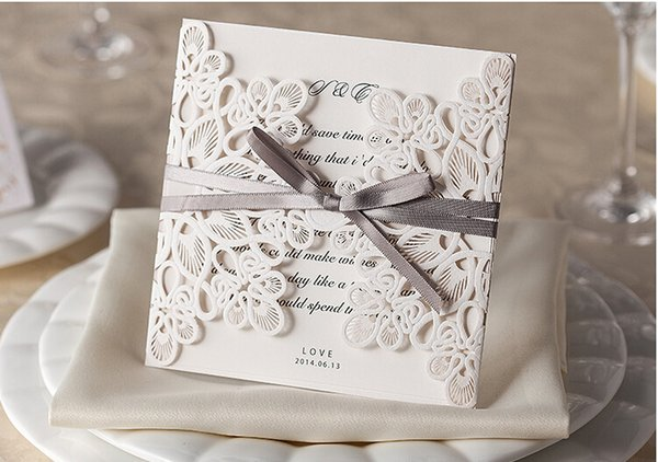 Elegant Lace Wedding Invitation Cards Laser Cut Hollow Daisy Flowers Personalized Wedding Invitations Cards With Free Shipping