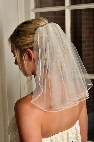 Ivoire Blanc Courte De Mariage Voile De Mariée Une Couche Perles Perles Voiles De Mariage Épaule Longueur Tulle Avec Peigne Accessoires De Mariée En Stock Rapide