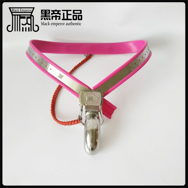 Male Adjustable Model-Y Stainless Steel Premium Chastity Belt - PINK color