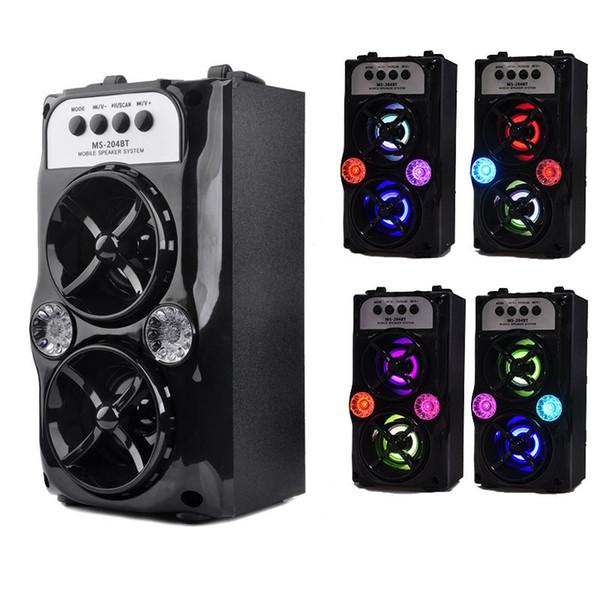 Lautsprecher MS-204BT LED Drahtlose Bluetooth-Tragbare Lautsprecher mit USB-TF AUX-FM-Radio Außen Super Bass (Schwarz) MIS167