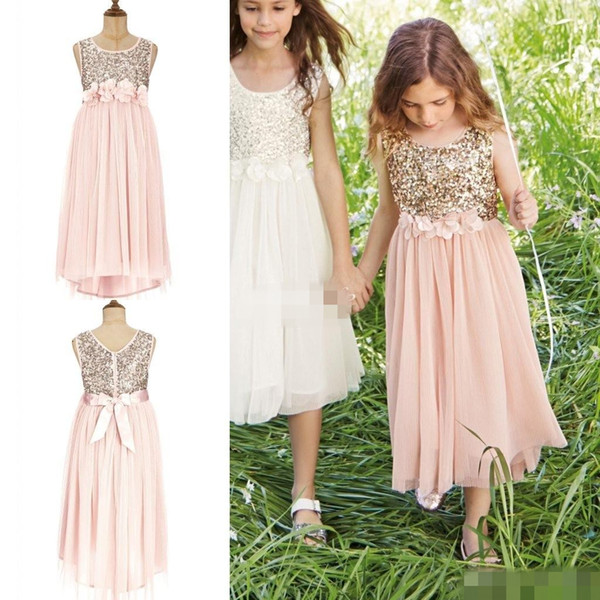 top popular Blush Flower Girls Dresses Gold Sequins Hand Made Flower Sash Tea Length Tulle Jewel A Line Kids Formal Dress Junior Bridesmaid Dress 2019