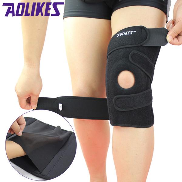 Al por mayor- AOLIKES 1 Pieza Rodilleras deportivas Cuatro resortes Apoyo EVA respirable Brace Knee Protector Rodillera ginocchiere