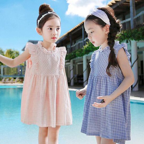 New Arrival Baby Girls Princess Dress Blue And Pink Plaid Dresses Korean Summer Beach Dresses Casual Dress For Girls Clothing Free Shipping