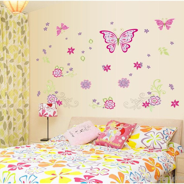 Wall Stickers Rain Butterfly With Flower Dance Decal Removable Background Art Mural Home Decor Pastoral Style 4 5sy F R