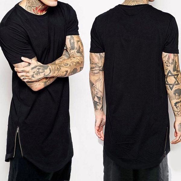 New Clothing Mens Black long t shirt Zipper Hip Hop longline extra long length tops tee tshirts for men tall t-shirt
