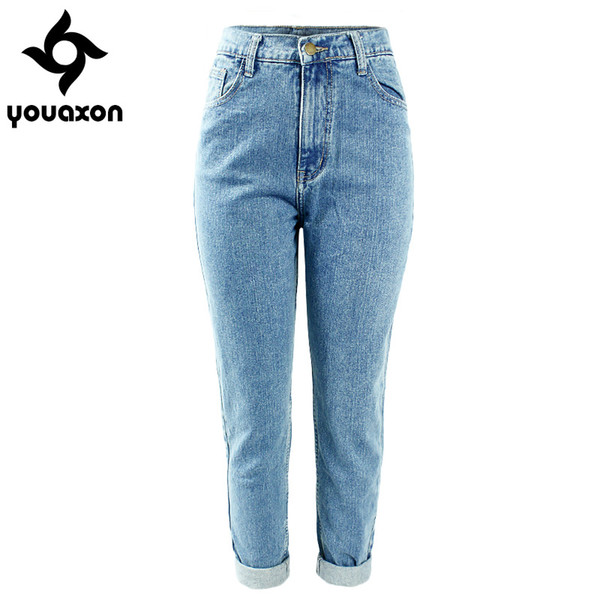 f14d38d7e659 Wholesale- 1886 Youaxon Women`s Plus Size High Waist Washed Light Blue True  Denim Pants Boyfriend Jean Femme For Women Jeans