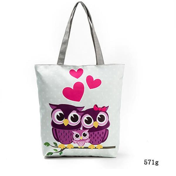 Сова Печать Холст сумка Женщины Цветы Сумки Большая емкость Женские сумки  на ремне Одиночная сумка для покупок Повседневная модель Пляжные сумки 75f9461b2a1