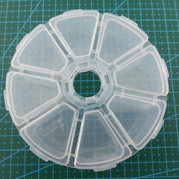 New 8 Compartments Circular Transparent Plastic Fishing Lure Tackle Box Case Visible with Drain Hole Storage Box