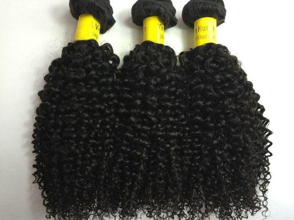Kinky bouclés Brésiliens Cheveux Weaves NON TRAITÉS Cheveux Humains Trames Indien Malaisien Péruvienne Extensions de Cheveux 3 pc Double Trame crépus bouclés Bundles