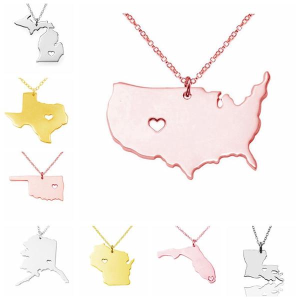 Mapa de Estado de EE. UU. Collar Colgante de Acero Inoxidable de Oro Rosa con Corazón de Amor Estado de EE. UU. Mapa de Geografía Collares Encanto Joyas Oro Mujeres y Hombres