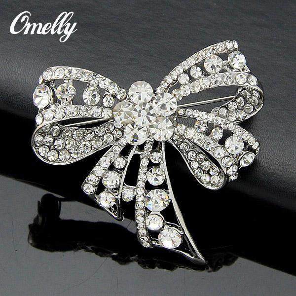Sevimli Yay Kristal Rhinestone Broşlar Iğneler Düğün Buket Broşlar Broş Takı Toptan Toplu ucuz Fiyat