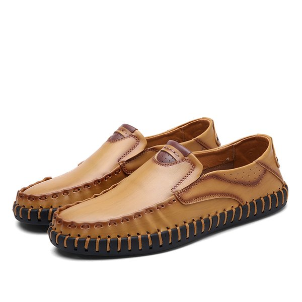 Men's Loafers Slip On Shoes Genuine Leather Shoes Soft Driving Shoes Men's Flats Easy Wear Size 38-44 HY802