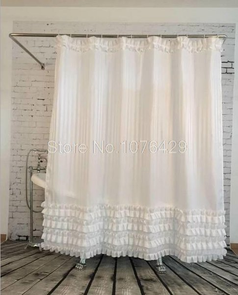 Wholesale Shower Curtain White Ruffled Princess Dress Design Bathroom Waterproof Mildewproof Polyester Fabric With 72 Inch 12 Hooks