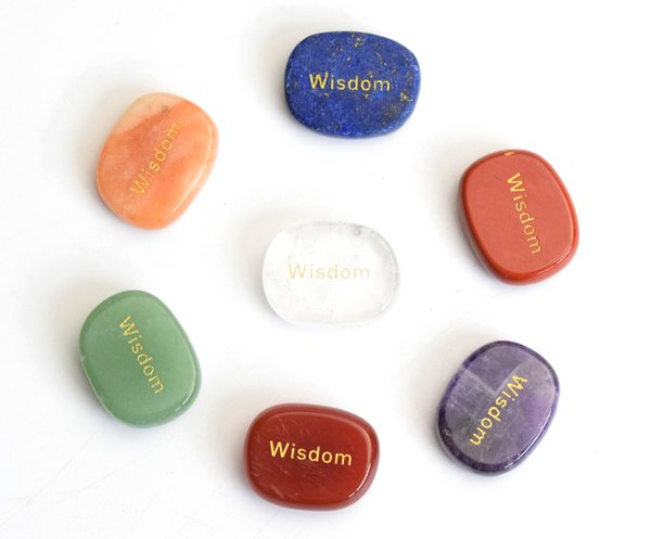 7 pieces Natural Chakra Stones Engraved Wisdom Of Positive Word Palm Stones with a Free Pouch