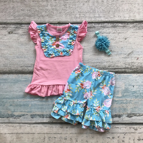 530c2e35e0d6 2019 Hot Sell Baby Girls Cotton Summer Outfits Pink Short Sleeve ...