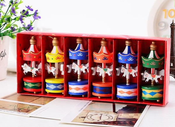 Vintage Wood Carousel Horse Christmas Tree Pendant hanging Ornaments Romatic Wedding Birthday Hen Party decor kids toy favors with gift box