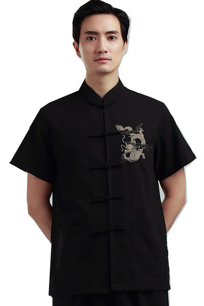 Shanghai Story Man's Dragon embroidery Top chinese traditional top male chinese kungfu shirt chinese shirt for men Dragon Shirt