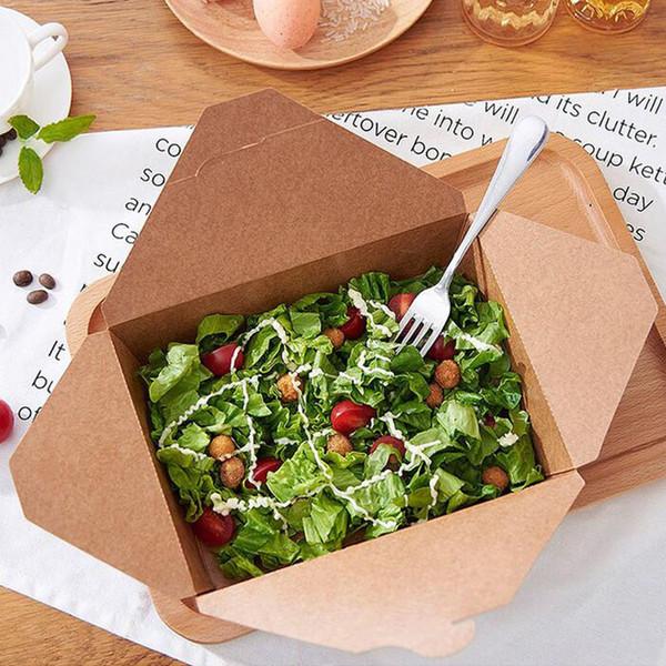 Monouso Kraft Paper Takeout Contenitore di Imballaggio per Alimenti Rrectangular Fast Food Snack Insalata Carrier Piatto Spedizione Gratuita ZA4376