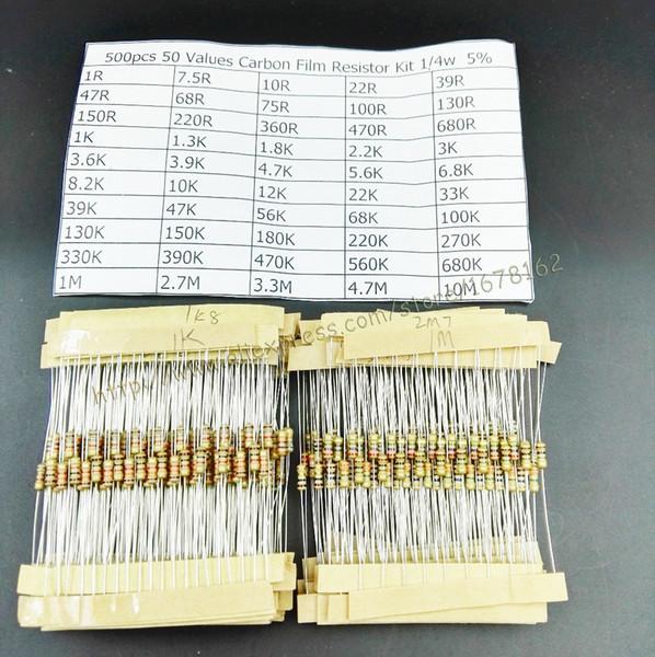 Vente en gros- Livraison gratuite 500pcs 1 / 4w 0.25w 5% Kit de résistance de film de carbone 50 Valeurs Assortiment Pack Sélection de mélange (1R ~ 10M ohm)