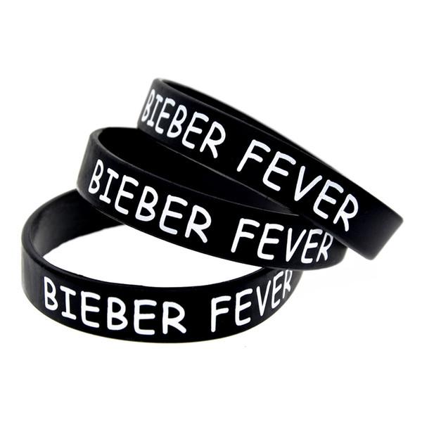 1 ADET Baskılı Justin Bieber Bieber Ateş Silikon Bilezik Giymek Bu Sizin Lateks Olmayan Bileklik Sevdiğiniz Biri Desteklemek
