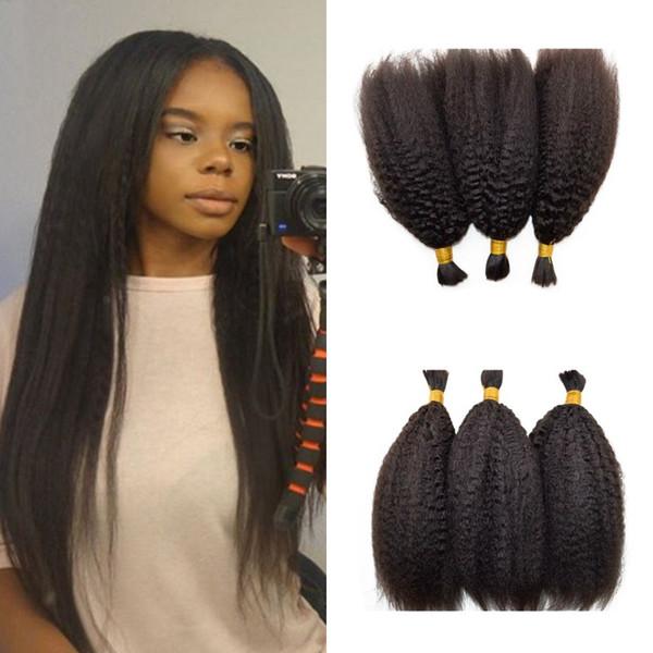 3 stücke Verworrene Gerade Haar für Afroamerikaner Unverarbeitete Indische Menschenhaar flechten Haar Kein Schuss FDSHINE