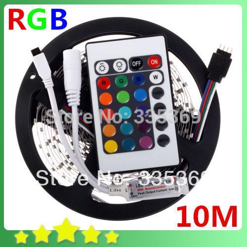Wholesale-10M 2 * 5M RGB LED Streifen 60leds / m 3528 SMD + 24 Schlüssel-IR-Fernprüfer geben Streifen-Licht-Lampe 12V der Batterie-RGB LED Verschiffen frei