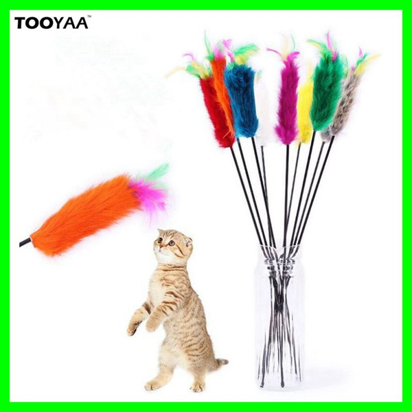 rabbit furs pet cat toys cat teaser wandtoys pet dog cat feather playing toys with bell elasastic products supplier