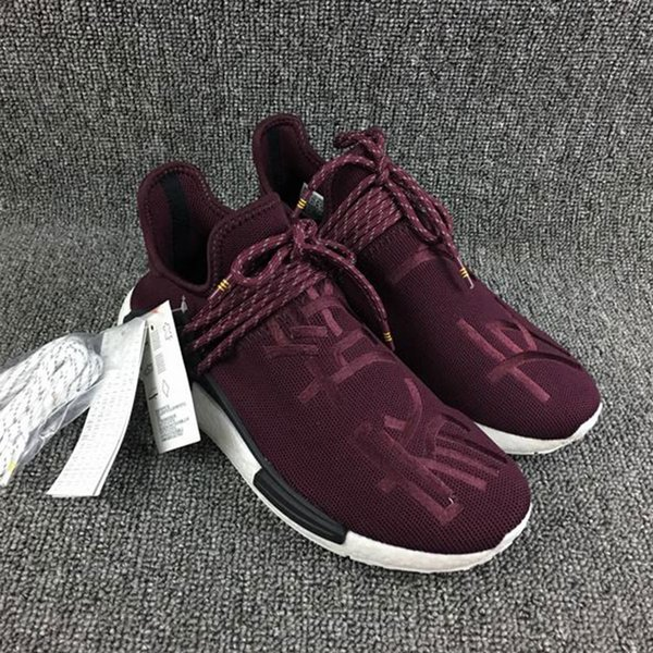 quality design fff63 27508 Pharrell Friends And Family NMD HUMAN RACE,Hu Nmds Williams Runner Shoes  Being Special Burgundy Maroon Yellow Black Red Green With Box On Running ...