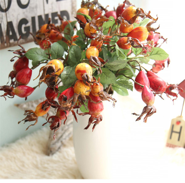 3pcs/lot Artificial Pomegranate Berry with Leaf Stem for Christmas Decoration Home and Wedding Fake Flowers Free Shipping