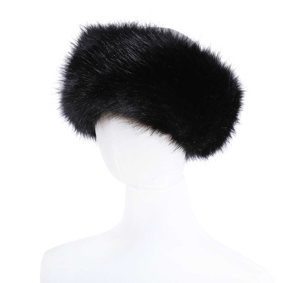 top popular 10 colors Womens Faux Fur Headband Luxury Adjustable Winter warm Black White Nature Girls Earwarmer Earmuff 2020