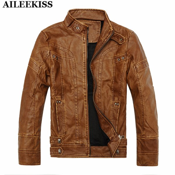 Wholesale- Fashion Men PU Leather Jacket 2017 Classic Slim Fit Motorcycle Jackets Thicken Warm Winter Men's Casual Coat Fur Coats XT300