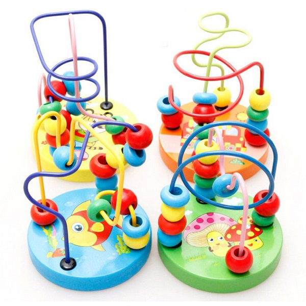 Wholesale- 1PCS Toddler Children Kids Child Baby Colorful Wooden Mini Around Beads Wire Maze Early Educational Ablility Developing Toys