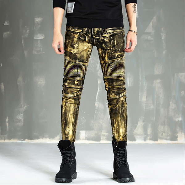 En gros-Haute qualité 2017 nouveau or argent enduit hommes jeans élastique skinny Slim biker jeans homme moto pantalon hip hop discothèque style