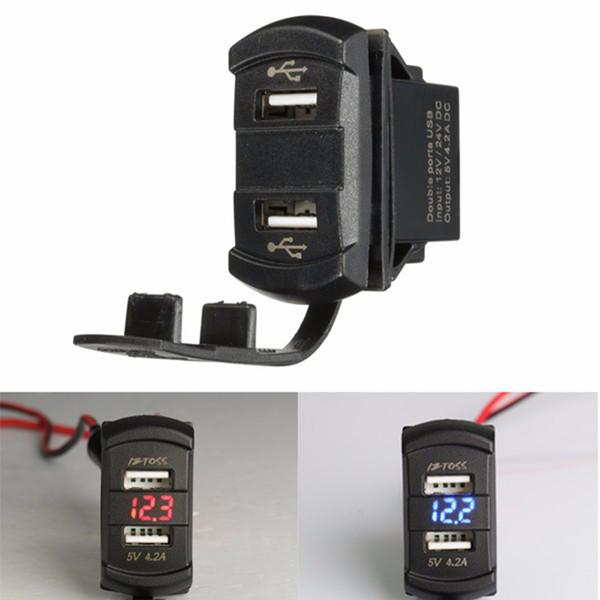 Wholesale- 12V 24V Car Boat Dual 2 USB Charger Green Orange Red Blue LED Voltmeter Voltage Meter Switch Panel For Car Truck