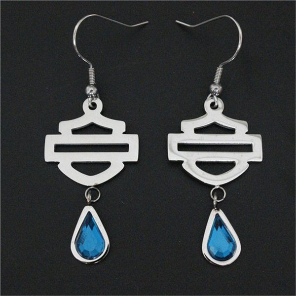 best selling USA biker style earrings 316l stainless steel fashion jewelry unisex popular sapphire motorbiker earrings